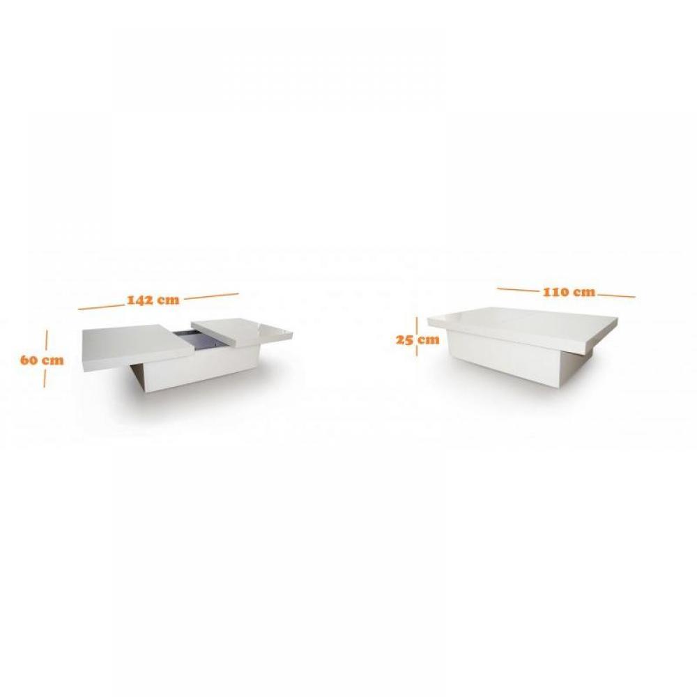 Table basse extensible avec rangement - Table basse blanc laque avec rangement ...