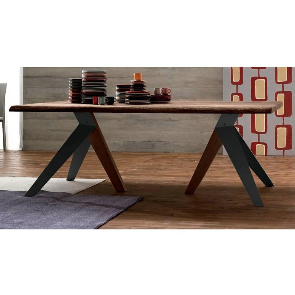 Tables repas tables et chaises trio table repas en ch ne teint chocolat pi tement en bois - Photo de table ...