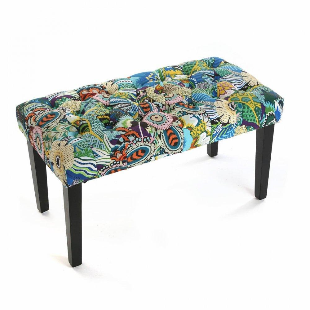 bancs tables et chaises banc tropico design patchwork bleu inside75. Black Bedroom Furniture Sets. Home Design Ideas