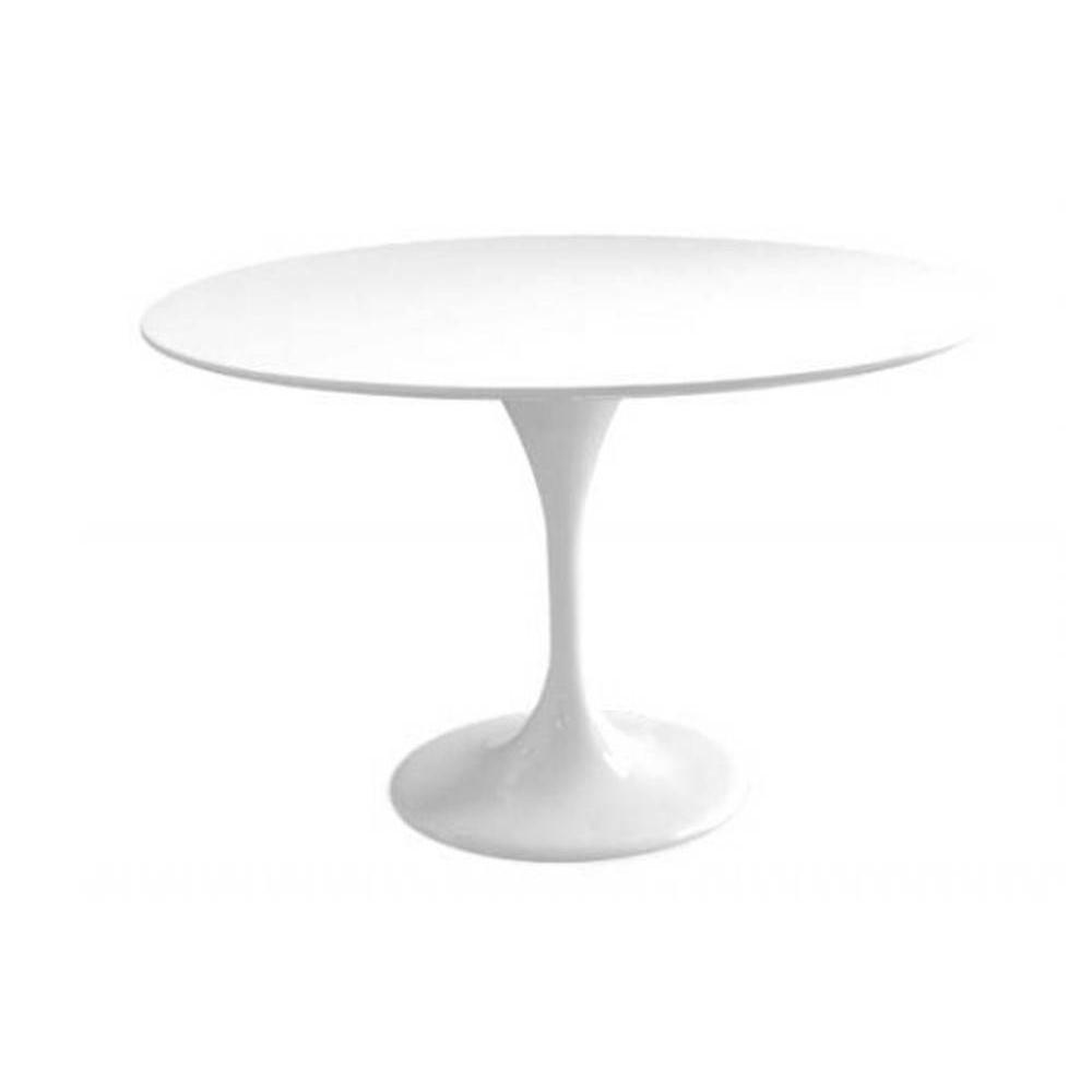 Table ronde de repas design tulipe laqu e blanc 120 cm ebay for Table ronde extensible design