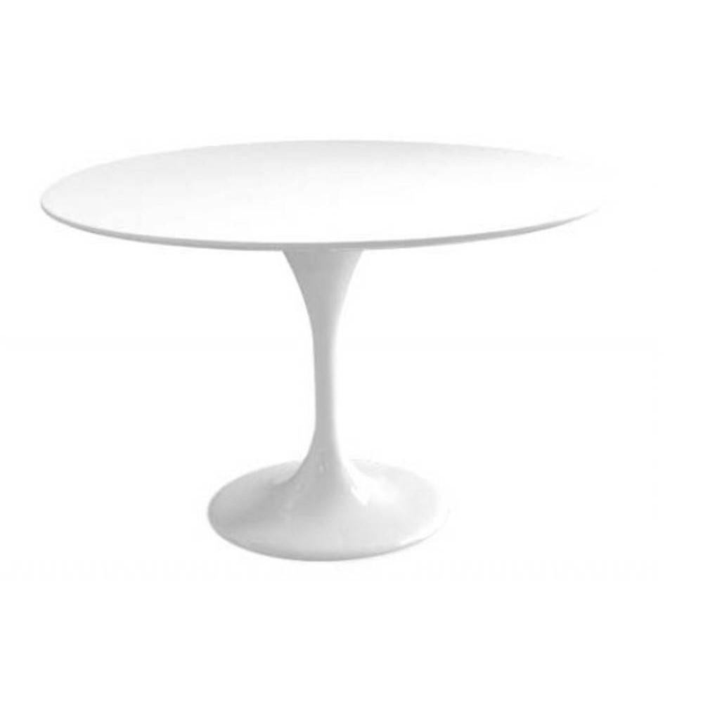Table ronde de repas design tulipe laqu e blanc 90 cm ebay - Table de salon ronde laquee blanc ...