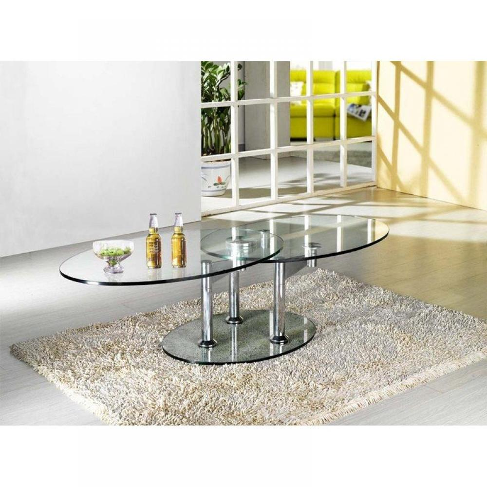 Tables basses tables et chaises table basse design twin glass double plat - Table basse de salon en verre modulable ...