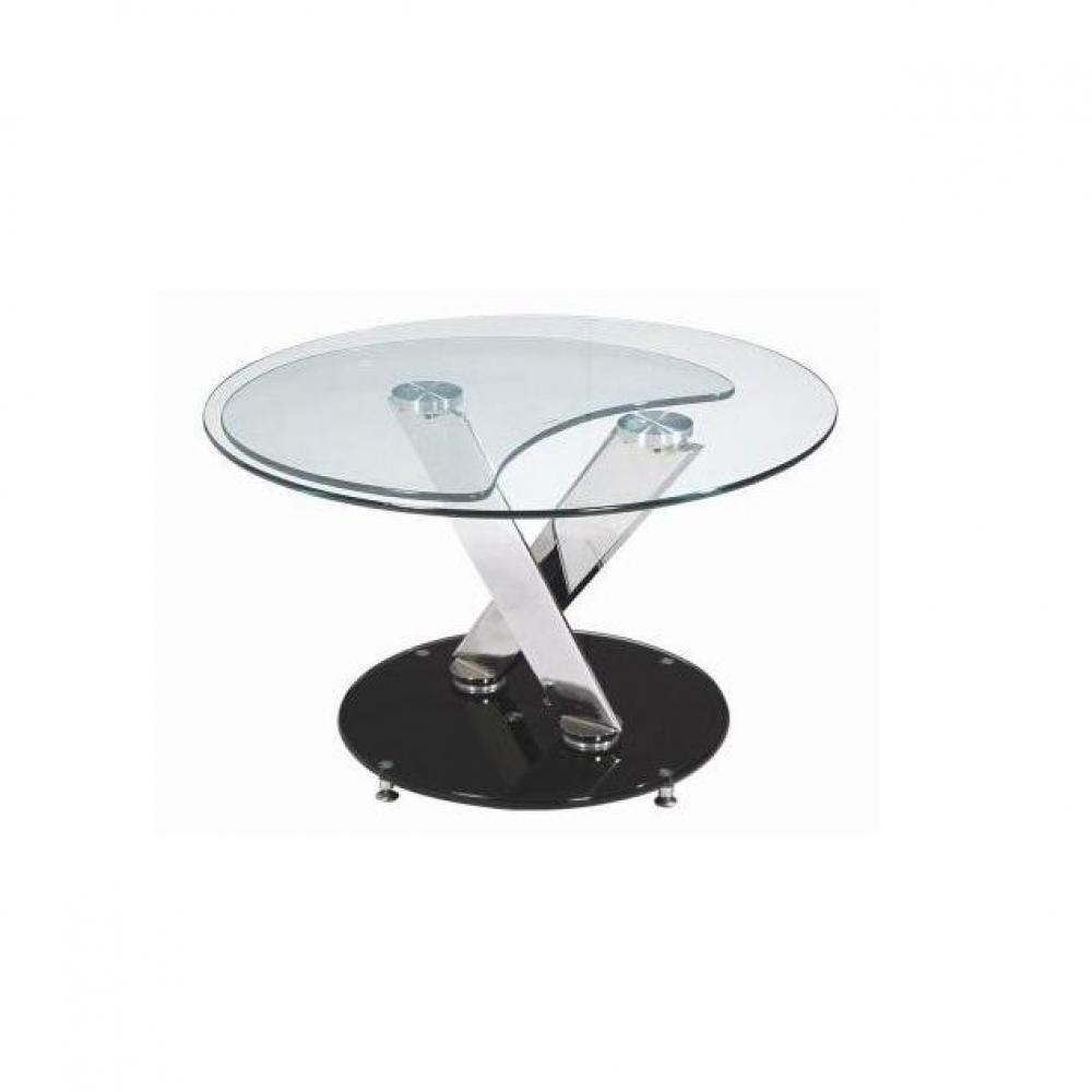 Black friday week twin black table basse design ronde double plateaux ins - Table basse de salon en verre modulable ...