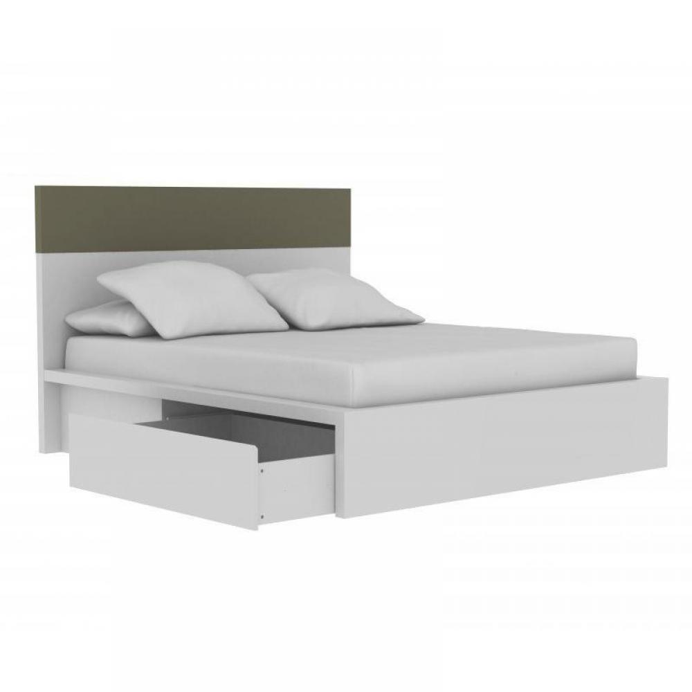 Lits tiroirs rangement chambre literie lit design valentin blanc gris - Coffre de rangement blanc laque ...
