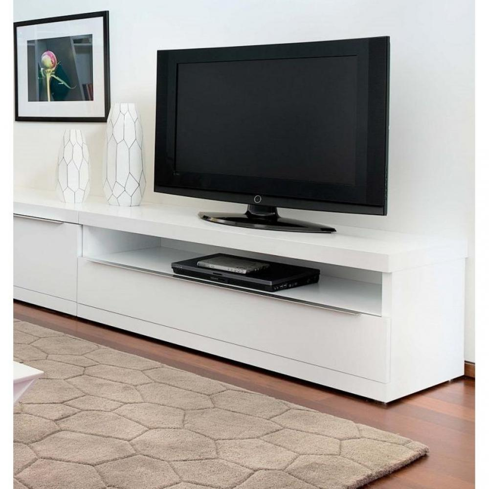 meubles tv meubles et rangements temahome valley meuble tv design blanc avec niche de. Black Bedroom Furniture Sets. Home Design Ideas