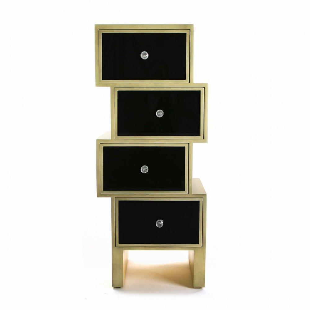 commodes meubles et rangements commode varese en verre noir 4 tiroirs design dor inside75. Black Bedroom Furniture Sets. Home Design Ideas