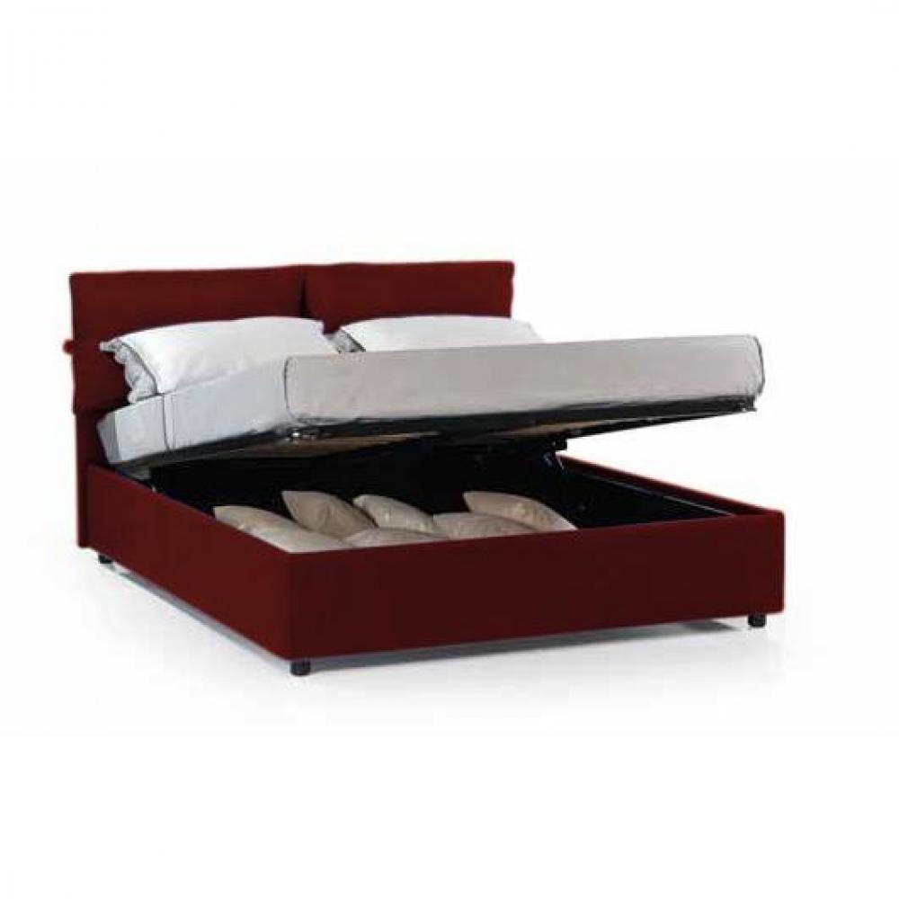 matelas chambre literie lit coffre design vittoria couchage 160 200cm microfibre bordeaux. Black Bedroom Furniture Sets. Home Design Ideas