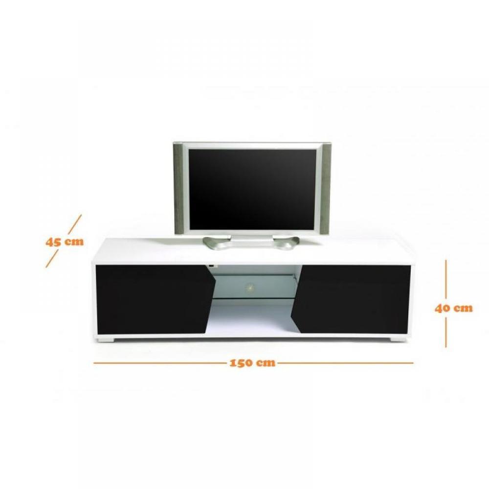 Meuble tv blanc laqu en soldes - Meuble rangement blanc laque ...