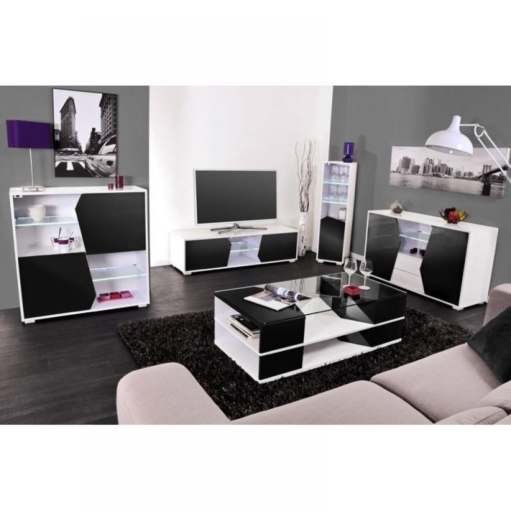 meuble tv blanc et noir laque pas cher. Black Bedroom Furniture Sets. Home Design Ideas