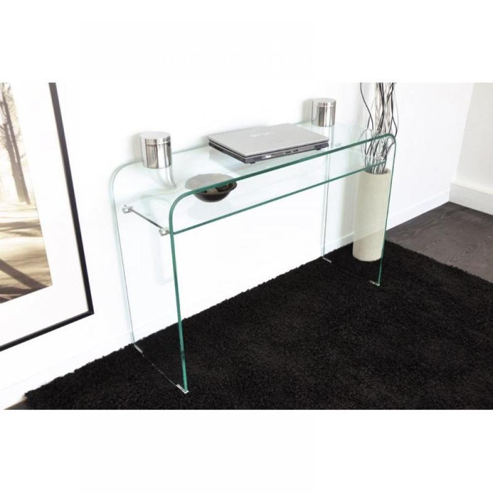 consoles meubles et rangements console fixe wave en verre tremp transparent 2 plateaux design. Black Bedroom Furniture Sets. Home Design Ideas