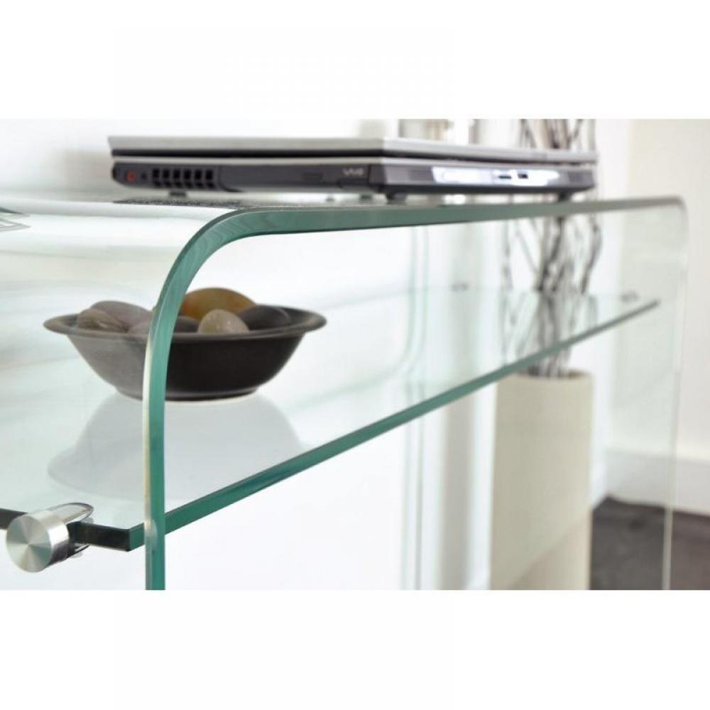 Consoles meubles et rangements console fixe wave en verre tremp transparen - Console en verre trempe ...