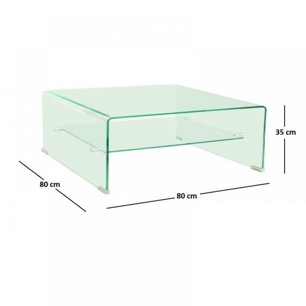 Wave table basse carr e en verre double plateau 80x80 cm for Table basse tout en verre