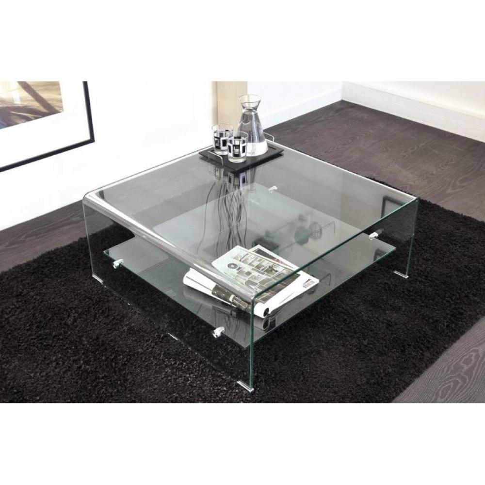 wave table basse carr e en verre double plateau 80x80 cm ebay. Black Bedroom Furniture Sets. Home Design Ideas