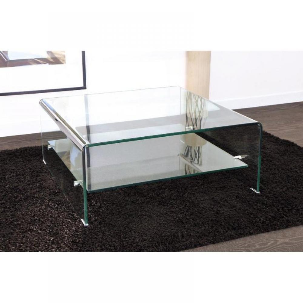Tables basses tables et chaises wave table basse carr e en verre double pla - Table basse en cuir et verre ...