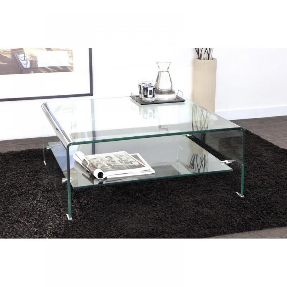 Tables basses tables et chaises wave table basse carr e en verre double pla - But table basse verre ...