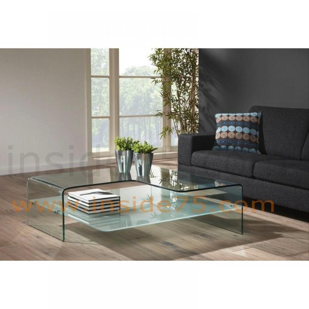 Tables basses tables et chaises wave table basse verre transparent design - Table salon en verre ...