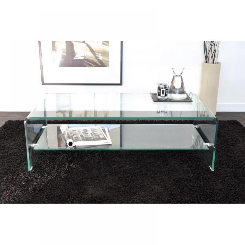 Tables basses tables et chaises table basse design side en verre tremp 12mm transparent for Grande table de salon en verre