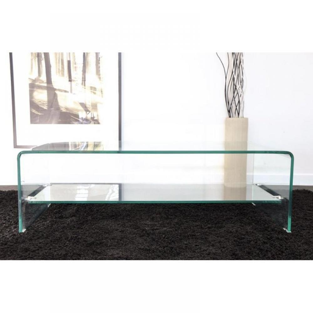 Tables basses table basse design side en verre tremp for Table basse tout en verre