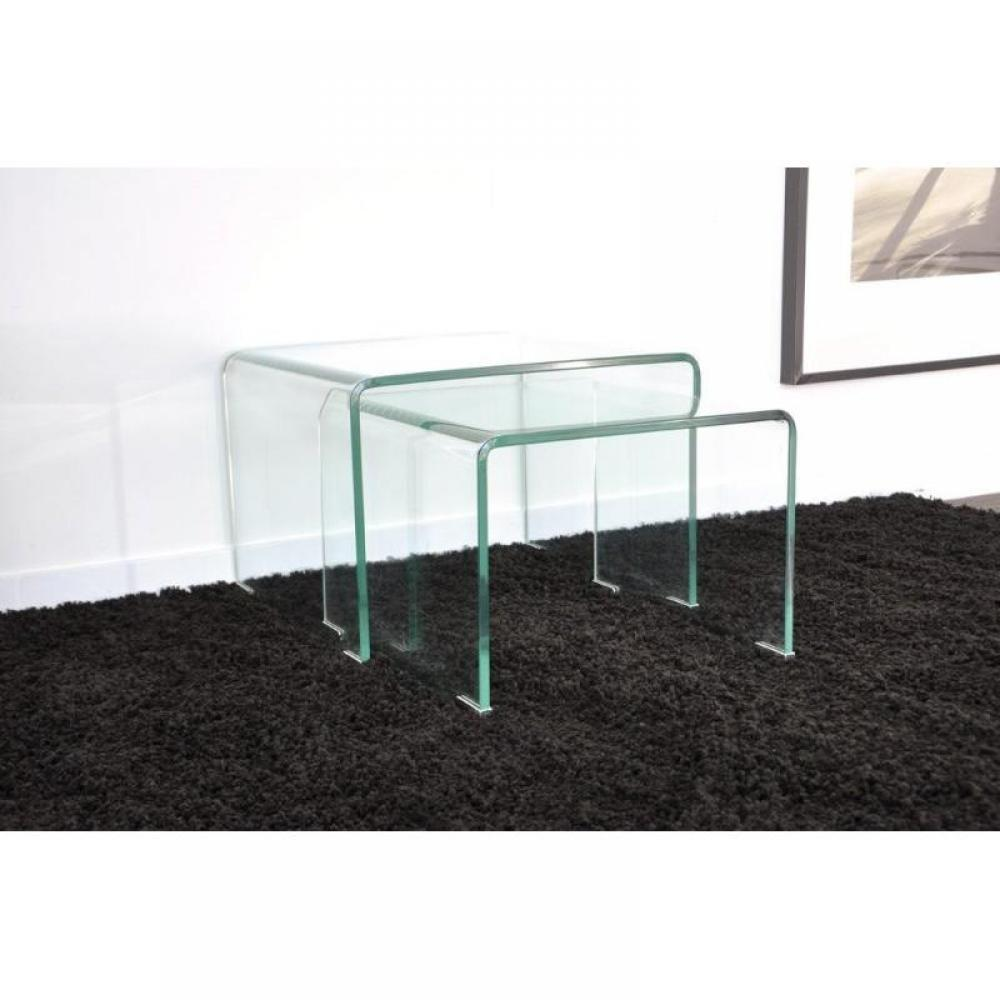 tables basses tables et chaises wave gigogne transparente 2 tables verre design inside75. Black Bedroom Furniture Sets. Home Design Ideas