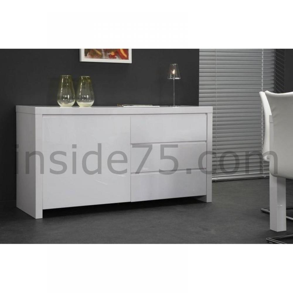 buffets meubles et rangements buffet design laqu blanc 1 porte 3 tiroirs inside75. Black Bedroom Furniture Sets. Home Design Ideas