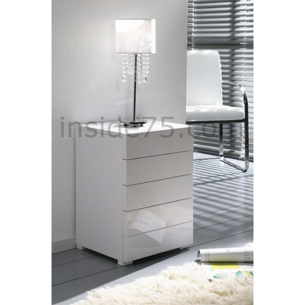 chevets meubles et rangements white chevet 5 tiroirs laqu blanc design inside75. Black Bedroom Furniture Sets. Home Design Ideas