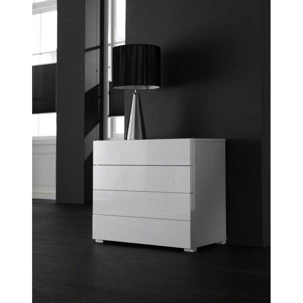 Commodes meubles et rangements white commode basse fixe 4 tiroirs laqu e bl - Commode basse et longue ...