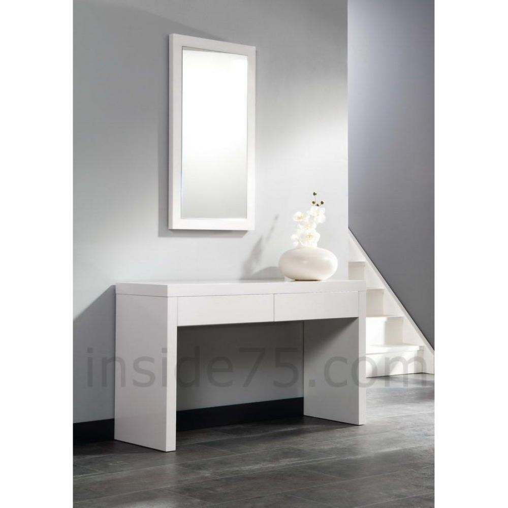 Consoles meubles et rangements console design laqu e blanc brillant 2 tiro - Console laquee blanc ...