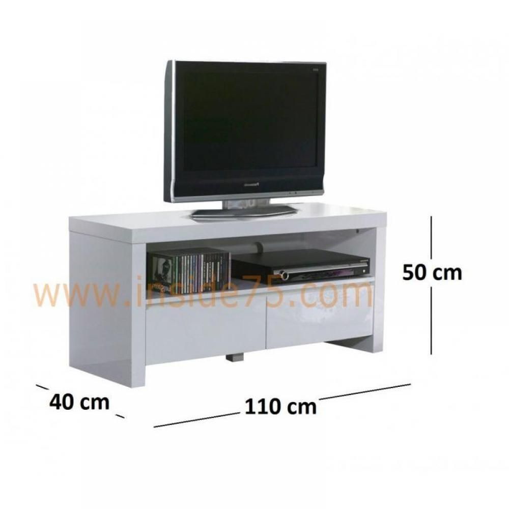 meubles tv meubles et rangements white meuble tv avec 2. Black Bedroom Furniture Sets. Home Design Ideas