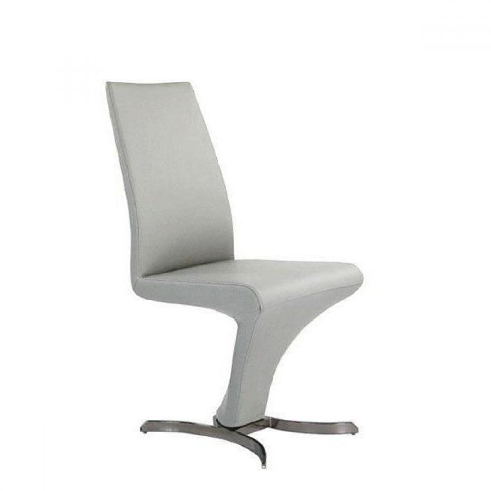 chaises tables et chaises chaise design zoe simili cuir blanc et acier inoxydable inside75. Black Bedroom Furniture Sets. Home Design Ideas