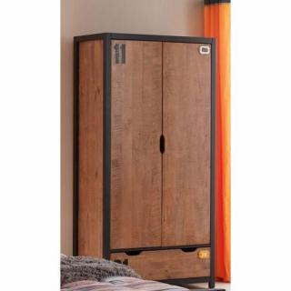 dressings et armoires meubles et rangements armoire alex de style industriel avec 2 portes et. Black Bedroom Furniture Sets. Home Design Ideas