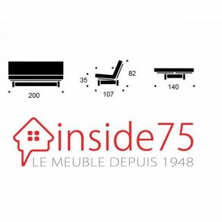 Banquette lit wengé  FRESH 3 places matelas futon convertible couchage 140*200cm