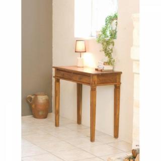 bureaux tables et chaises bureau 2 tiroirs style colonial en teck massif inside75. Black Bedroom Furniture Sets. Home Design Ideas