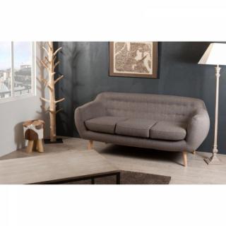 Canapé Fixe 3 Places ALPHA en Tissu Taupe Style Scandinave