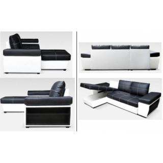 Canapé d'angle gigogne convertible express VICTORIA tissu enduit façon similicuir noir et blanc