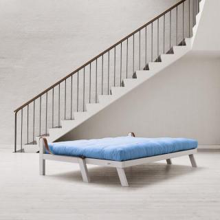 Canapé blanc 3/4 places convertible POETRY matelas futon couchage 130*190cm