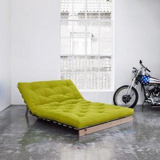 Canapé BZ style scandinave ROOTS NATURAL futon vert pistache couchage 140*200cm