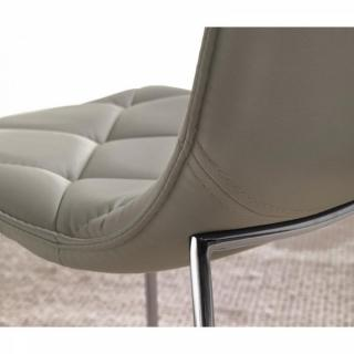 Lot de 2 chaises TOSCANE en tissu enduit polyuréthane simili façon cuir taupe piétement chromé
