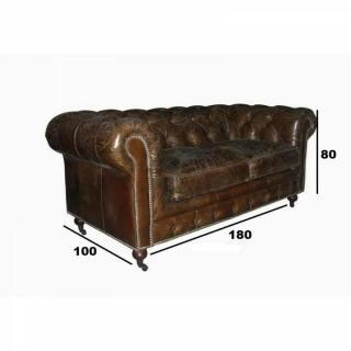 CHESTERFIELD fixe 2 places véritable cuir vintage marron capitonné