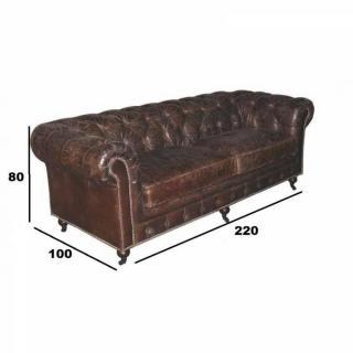 CHESTERFIELD fixe 3 places véritable cuir vintage marron capitonné