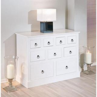 Chiffonniers meubles et rangements chiffonnier provence blanc 9 tiroirs en - Chiffonnier pin massif ...