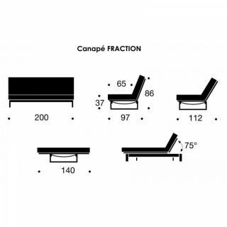 INNOVATION LIVING FRACTION Clic-clac convertible lit 200*140cm design capitonné