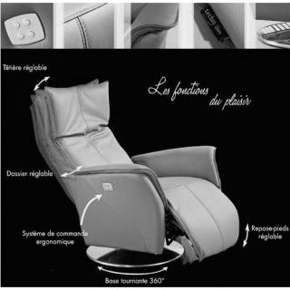 PREMIUM fauteuil relax électrique (bi-moteur) cuir vachette noir