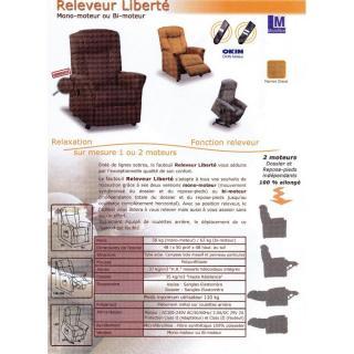 FREEDOM fauteuil relax et releveur électrique (bi-moteur) microfibre marron glacé