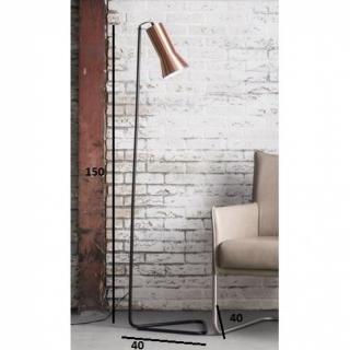 Lampadaire CURVO design cuivre avec un piétement en acier