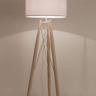 WHITE LABEL LIVING lampadaire EIFFEL blanc piétement pin massif
