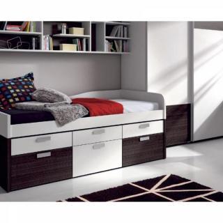 lits enfant chambre literie lit compact iris avec 6 tiroirs couchage 90 x 190 inside75. Black Bedroom Furniture Sets. Home Design Ideas