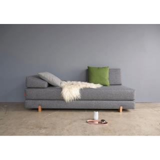 INNOVATION LIVING Méridienne lit design MYK gris pieds chêne convertible lit 200*160 cm