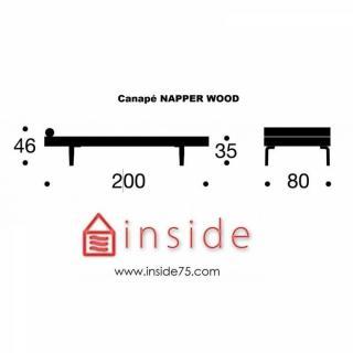 INNOVATION LIVING NAPPER Méridienne lit noir piétement en chêne, 200*80 cm