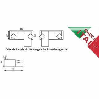 Canapé d'angle  convertible PARIGI + coffre, microfibre bordeaux
