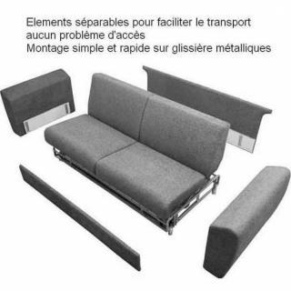 Canapé d'angle  convertible PARIGI en tissu enduit polyuréthane simili façon cuir gris + coffre